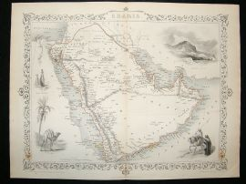 Arabia: 1852 Antique Map. Decorative. Tallis Rapkin